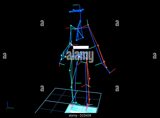 Biomechanics research This image is created from cameras monitoring an athletes movements - Stock Image