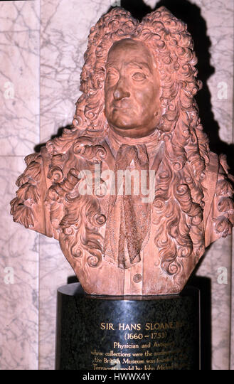 Bust of Sir Hans Sloane at British Museum - Stock Image