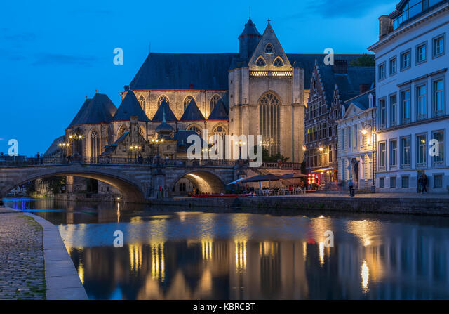 The Church of St. Michael (Sint-Michielskerk) in the city of Ghent in Belgium. It is a Roman Catholic church built - Stock Image