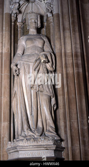 Statue of Philippa of Hainault Houses of Parliament - Stock Image