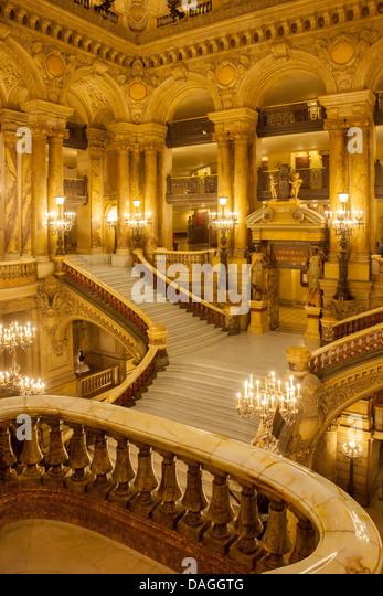 Grand staircase entry to Palais Garnier - Opera House, Paris France - Stock Image