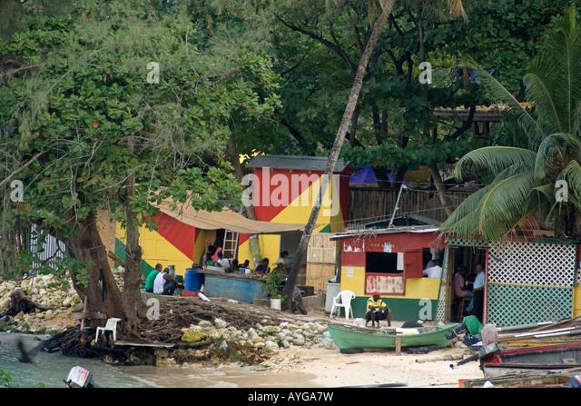 Jamaica Ochos Rios Slum - Stock Image