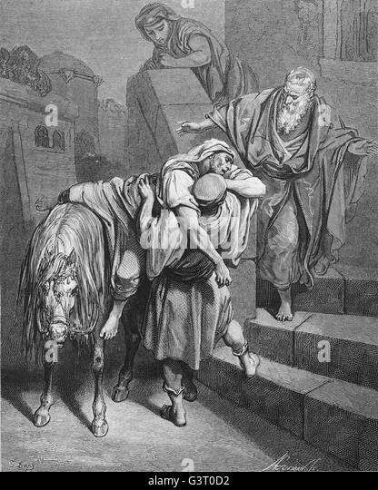 Arrival of the good samaritan at the inn. Luke, 10:34. Engraving by Gustave Dore. 19th century. - Stock Image
