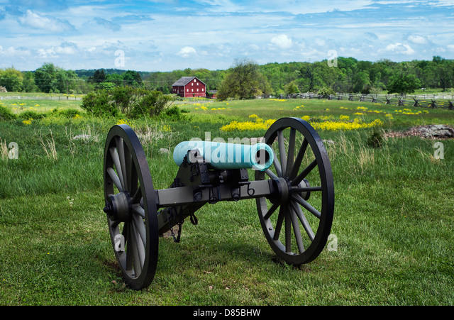Canon on battlefield, Gettysburg National Military Park, Pennsylvania, USA - Stock Image