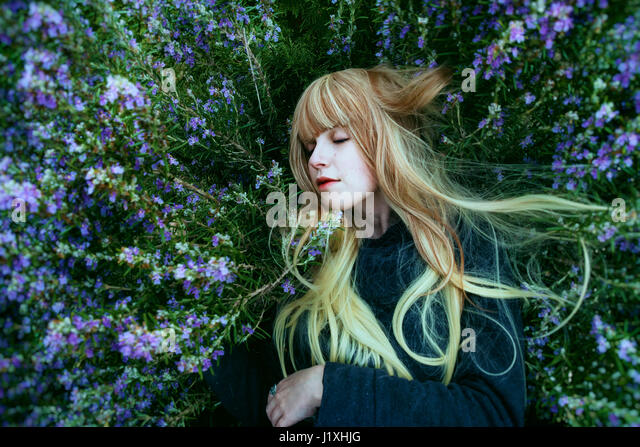 Young woman lying in a rosemary bush - Stock Image