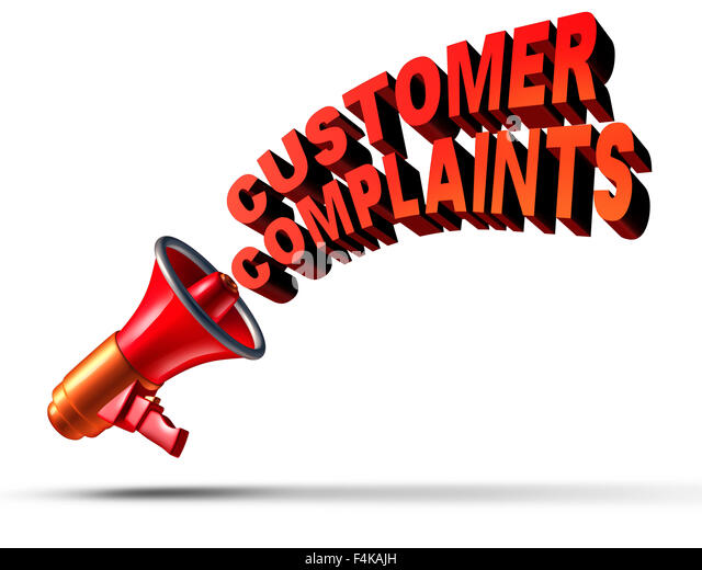 Customer complaints business symbol as a megaphone or bullhorn announcing and communicating a complaint opinion - Stock Image