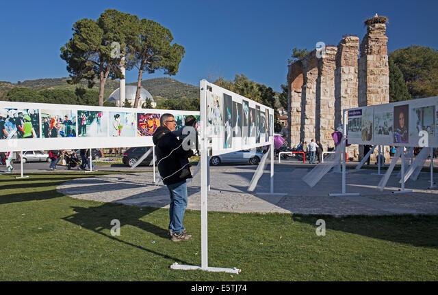 Open air exhibition Selçuk Turkey - Stock Image