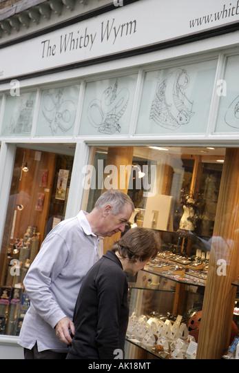 UK, England, Whitby, The Whitby Wyrm, shopping, couple, jewelry, - Stock Image