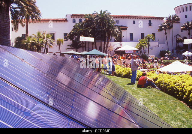 solar panels Earth Day Festival Santa Barbara California - Stock Image
