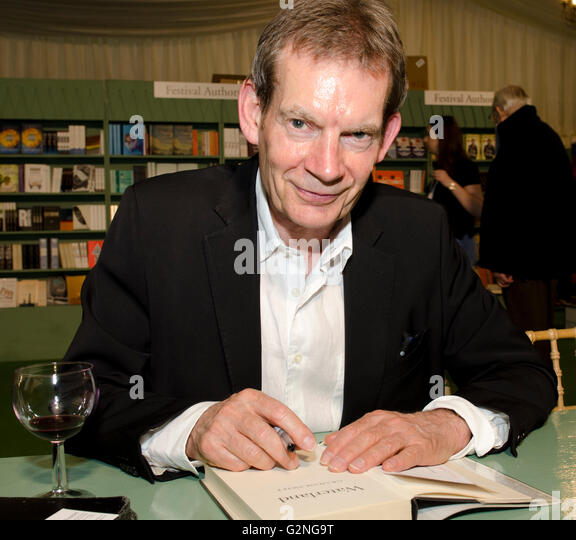 Graham Swift, novelist, author of Waterland and Man Booker prize winner 1996 for Last Orders, signing new novel - Stock Image