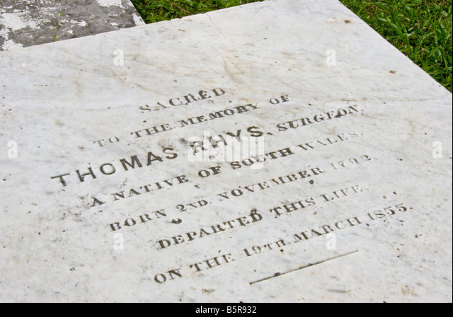 headstone Yarborough Cemetery Belize City first public cemetery in Belize historic site used 1787 to 1896 - Stock Image