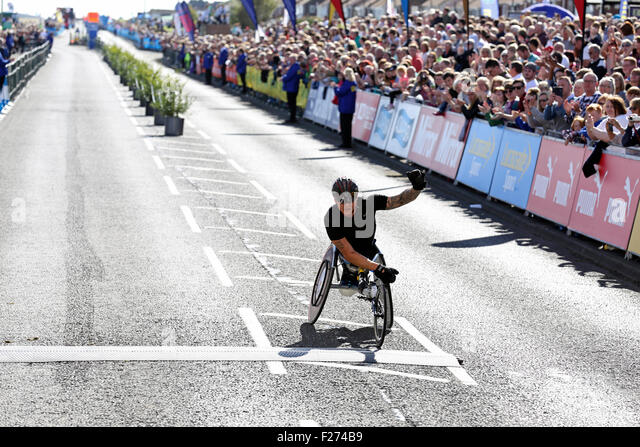 South Shields, UK. 13th Sep, 2015. David Weir wins the men's wheelchair race at the Great North Run, South Shields, - Stock Image