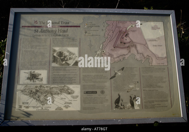 The Information Board at the St Anthony Head National Trust Site - Stock Image