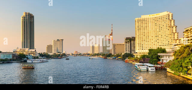 Thailand, Bangkok, traffic on the Chao Phraya river - Stock Image