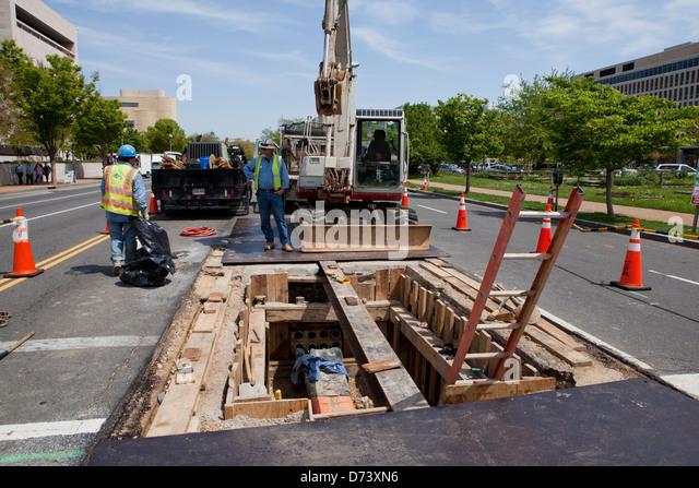 Municipal construction work - Stock-Bilder