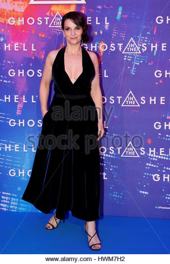 Actress Juliette Binoche poses as she arrives at a premiere of the film 'Ghost in the Shell' in Paris, France, - Stock Image