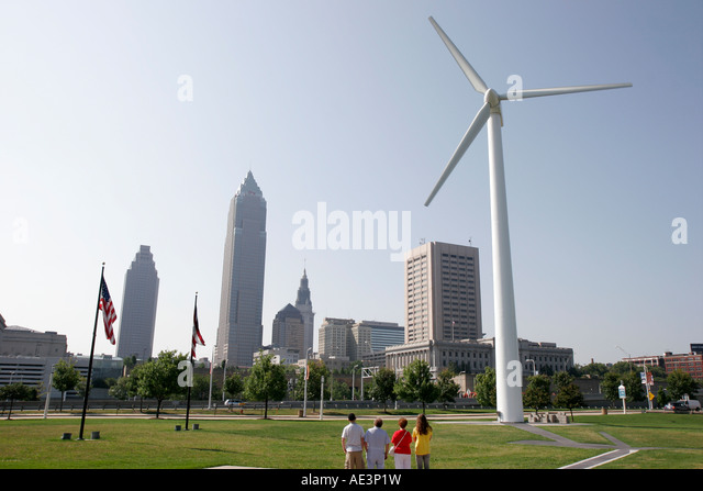 Cleveland Ohio wind driven power generator downtown skyline Key Tower - Stock Image