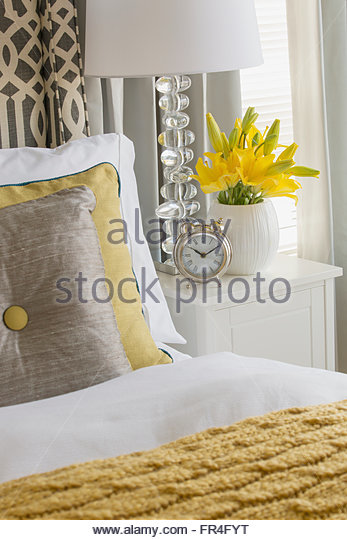 Close-up of contemporary bed and bedside table. - Stock-Bilder