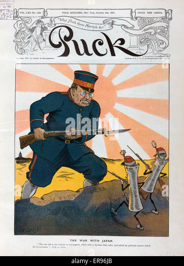 The war with Japan. Illustration shows Theodore Roosevelt wearing military uniform with the Japanese Imperial seal - Stock Image