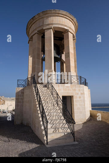 Siege Bell Memorial to those who died in World War II overlooking the harbour in Valletta, Malta - Stock Image