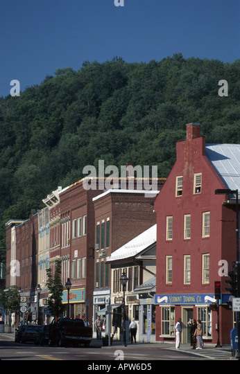 Vermont Montpelier Main Street French Block buildings built 1875 Federal style on right built 1826 - Stock Image