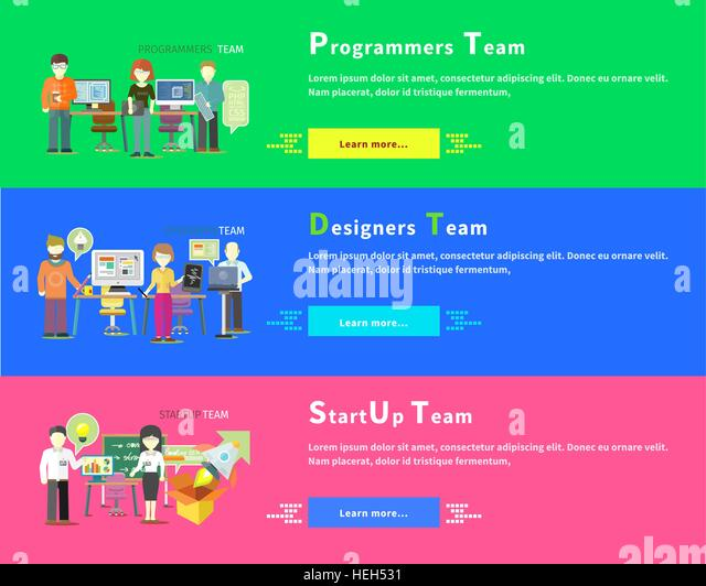 Startup business team people group flat style. Programmers team people. Programming and computer programmer, development - Stock-Bilder
