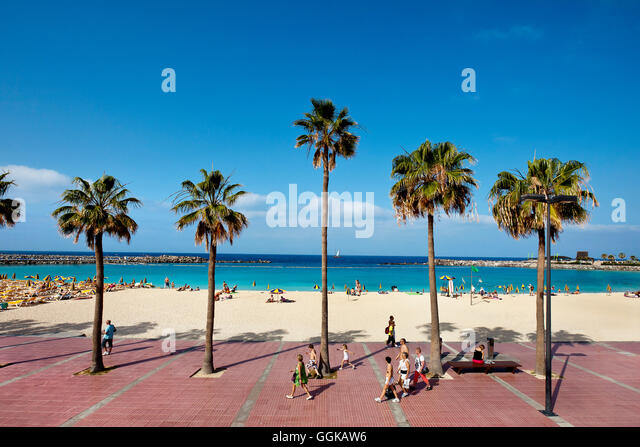 Beach and promenade at Playa Amadores, Puerto Rico, Gran Canaria, Canary Islands, Spain - Stock Image