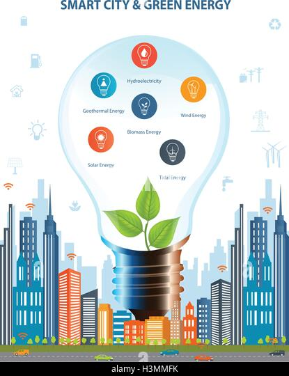 Ecological city concept.Smart city concept and Green energy with different environmental icons. Green city design. - Stock Image
