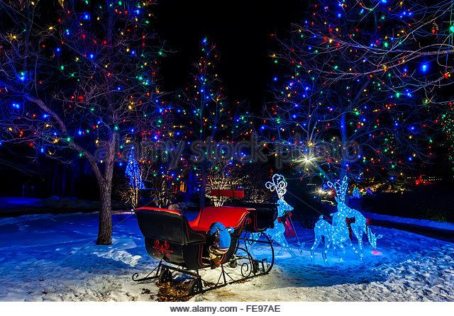 Christmas Lights Reindeer Sleigh Stock Photos Christmas Lights Reindeer Sleigh Stock Images