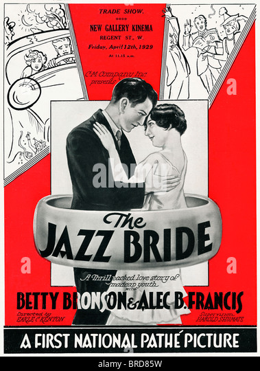 Jazz Bride, Poster for the 1928 US silent movie with the English title for a Thrill Packed Love Story of Madcap - Stock Image
