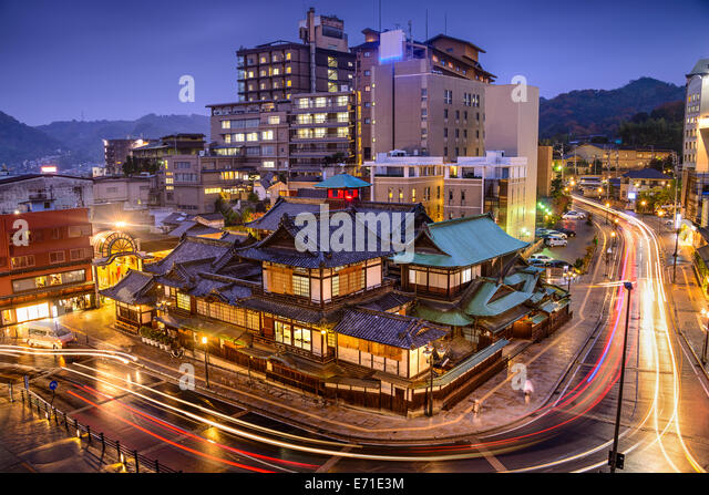 Matsuyama, Japan downtown skyline at Dogo Onsen bath house. - Stock Image