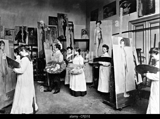 Students of the Academy of Fine Arts while painting, 1901 - Stock-Bilder