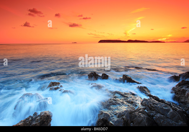 Sunset from Dubrovnik, Croatia - Stock Image