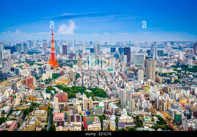 Tokyo, Japan city skyline from Roppongi Hills towards Tokyo Tower. - Stock Image