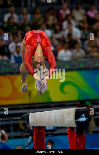 Shawn Johnson (USA) Women's Individual All Around Gymnastics silver medalist at the 2008 Olympic Summer Games, - Stock Image