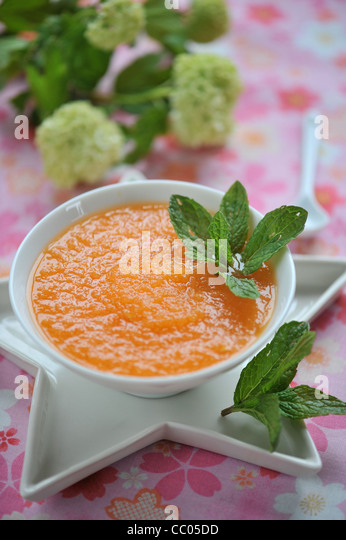 Melon and Mint Soup - Stock Image