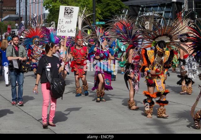 Seattle, Washington, USA. 1st May, 2015. 14th Annual May Day March for Worker and Immigrant Rights, Seattle, Washington, - Stock Image