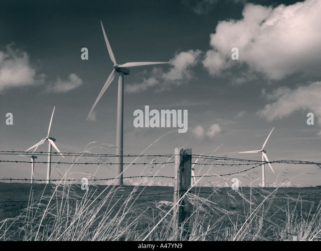wind turbines, lake district, cumbria, england, on the road to whitehaven - Stock Image