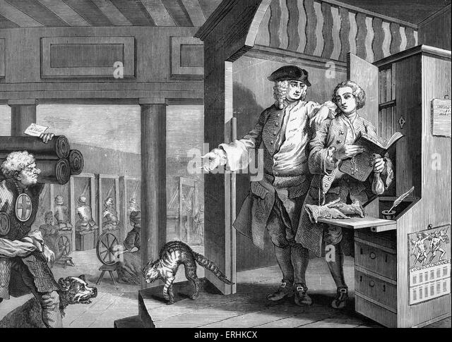 Industry and Idleness - The Industrious Apprentice Appointed Overseer, engraving by William Hogarth, English painter - Stock-Bilder