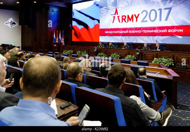 Moscow, Russia. 30th Aug, 2017. Russia's Deputy Defence Ministers Yuri Borisov, Pavel Popov, Alexander Fomin, - Stock Image