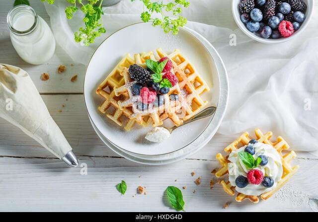 Belgian Waffle Whipped Cream Fresh Stock Photos & Belgian ...