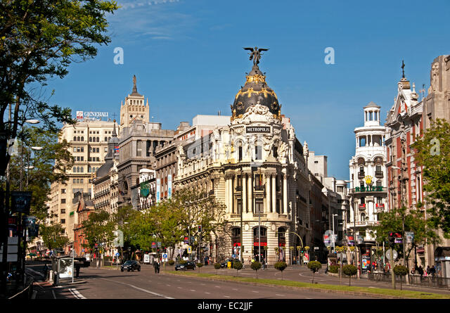 Metropolis corner Calle de Alcalá and Gran Vía. Madrid Spain  Neo Baroque architects Jules and Raymond - Stock Image