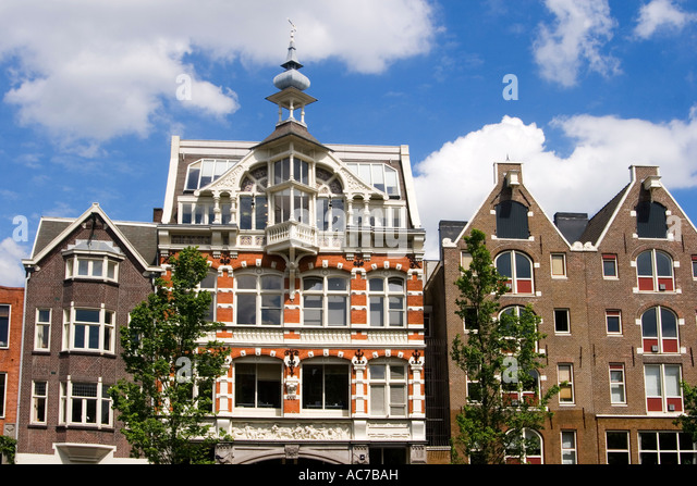 Amsterdam traditional architecture canalside houses - Stock Image
