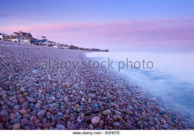 The shoreline at Budleigh Salterton, East Devon, South West England. - Stock Image