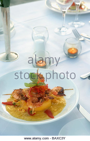 Shrimp entree on table - Stock Image