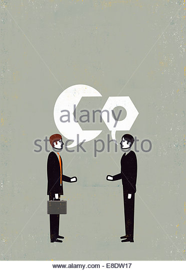 Businessmen bonding with spanner and bolt speech bubbles - Stock Image