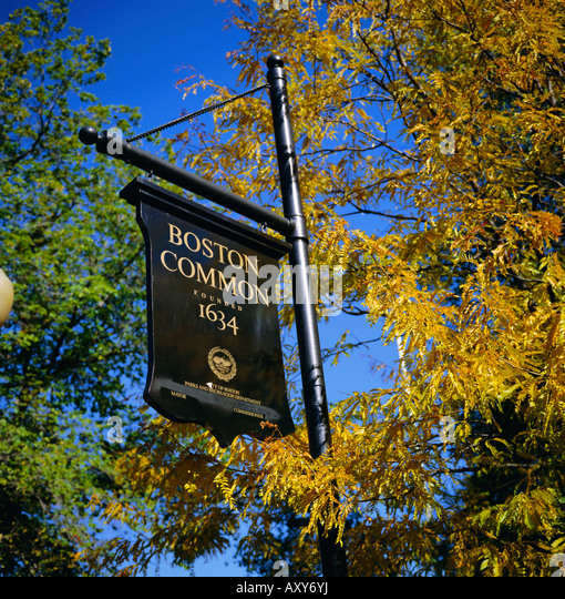 Boston Common sign, Boston Common, Massachusetts, New England, USA, North America - Stock Image