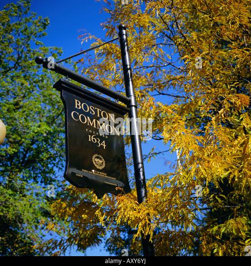 Boston Common sign, Boston Common, Massachusetts, New England, USA, North America - Stock Image
