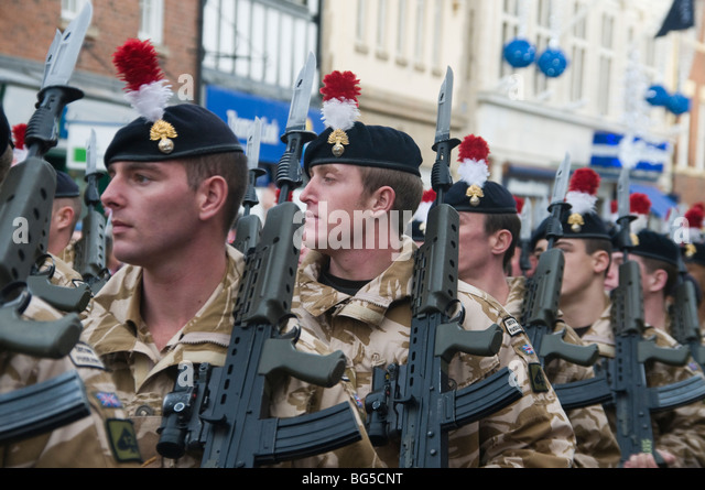 British troops during a home coming parade from Afghanistan - Stock Image