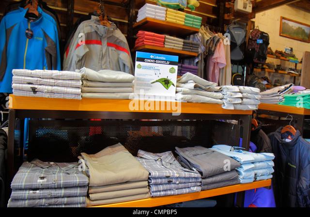 Peru Lima Miraflores Malecon de la Reserva Larcomar shopping center centre store business men's clothes clothing - Stock Image